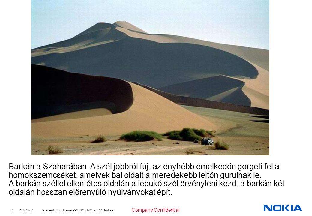 12 © NOKIA Presentation_Name.PPT / DD-MM-YYYY / Initials Company Confidential Barkán a Szaharában.