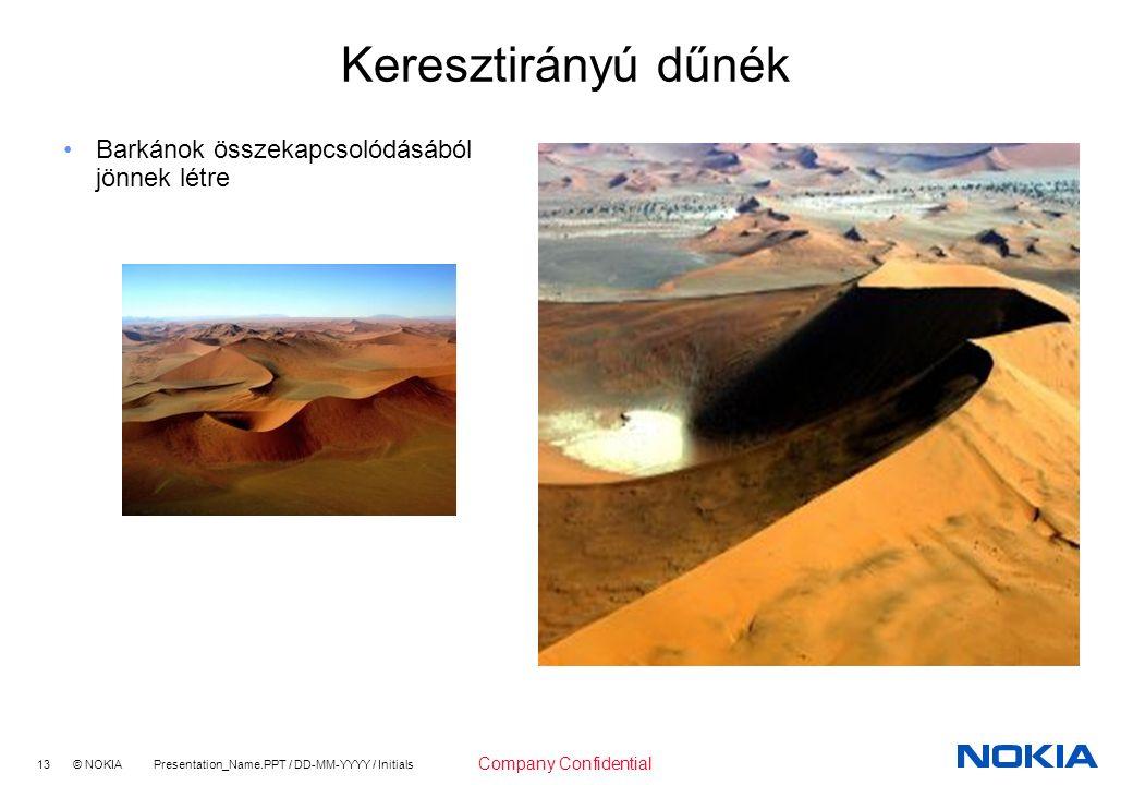 13 © NOKIA Presentation_Name.PPT / DD-MM-YYYY / Initials Company Confidential Keresztirányú dűnék Barkánok összekapcsolódásából jönnek létre