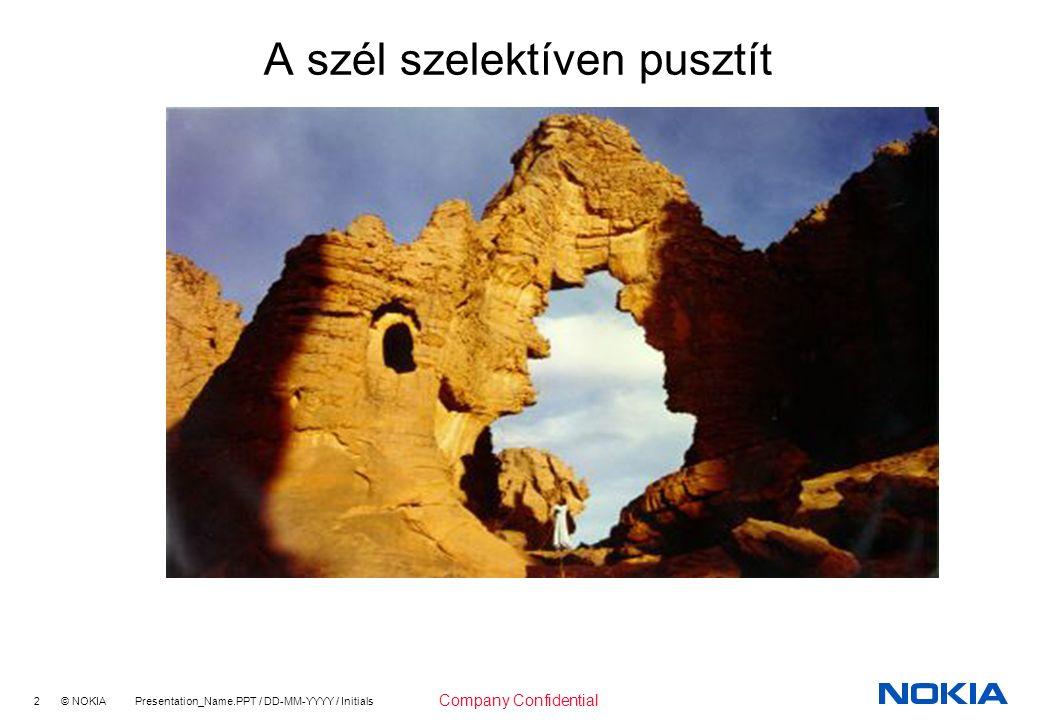 2 © NOKIA Presentation_Name.PPT / DD-MM-YYYY / Initials Company Confidential A szél szelektíven pusztít