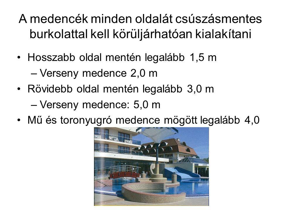 A medencék minden oldalát csúszásmentes burkolattal kell körüljárhatóan kialakítani Hosszabb oldal mentén legalább 1,5 m –Verseny medence 2,0 m Rövidebb oldal mentén legalább 3,0 m –Verseny medence: 5,0 m Mű és toronyugró medence mögött legalább 4,0