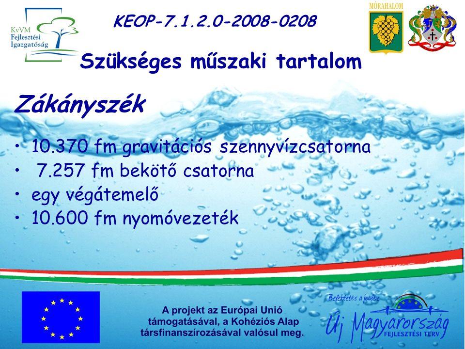 KEOP-7.1.2.0-2008-0208 Szükséges műszaki tartalom Zákányszék 10.370 fm gravitációs szennyvízcsatorna 7.257 fm bekötő csatorna egy végátemelő 10.600 fm nyomóvezeték