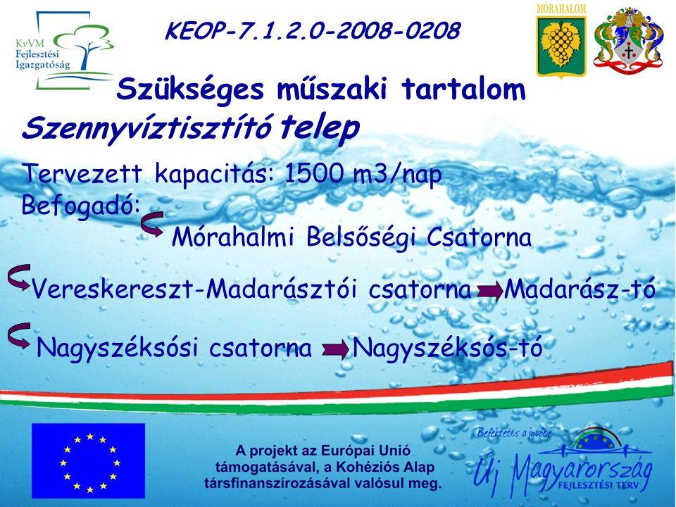 KEOP-7.1.2.0-2008-0208 Szükséges műszaki tartalom Szennyvíztisztító telep Tervezett kapacitás: 1500 m3/nap Befogadó: Mórahalmi Belsőségi Csatorna Vereskereszt-Madarásztói csatorna Madarász-tóNagyszéksósi csatorna Nagyszéksós-tó