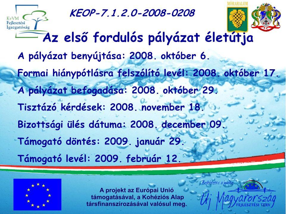 KEOP-7.1.2.0-2008-0208 Az első fordulós pályázat életútja A pályázat benyújtása: 2008.