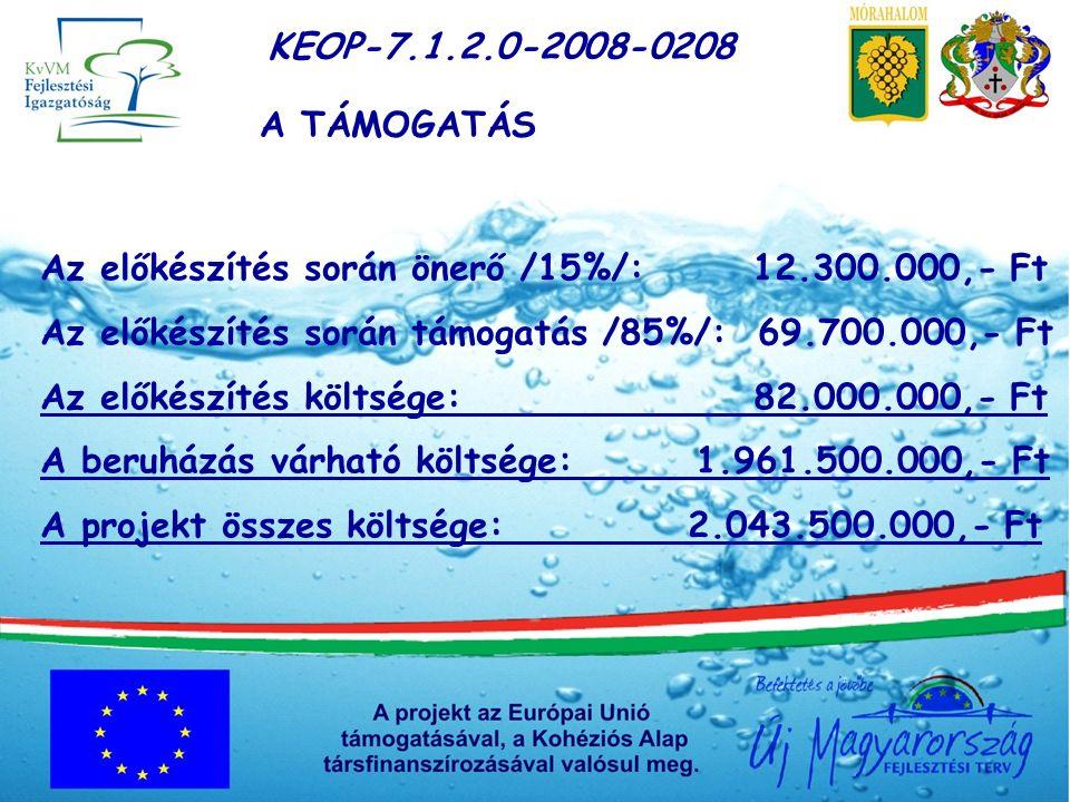 KEOP-7.1.2.0-2008-0208 A TÁMOGATÁS Az előkészítés során önerő /15%/: 12.300.000,- Ft Az előkészítés során támogatás /85%/: 69.700.000,- Ft Az előkészítés költsége: 82.000.000,- Ft A beruházás várható költsége: 1.961.500.000,- Ft A projekt összes költsége: 2.043.500.000,- Ft