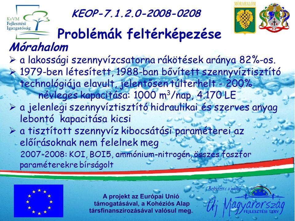 KEOP-7.1.2.0-2008-0208 Problémák feltérképezése Mórahalom  a lakossági szennyvízcsatorna rákötések aránya 82%-os.