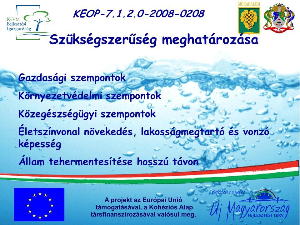 KEOP-7.1.2.0-2008-0208 Célok meghatározása Európai Uniós és hazai jogszabályoknak való megfelelés Felszíni vizek és felszín alatti vízkészletek védelme A társadalom környezeti biztonságának megteremtése Életminőség javítása A környezeti állapot javítás Tisztább, élhetőbb települések Környezetszennyezés felszámolása A kezelt TFH arányának növelése