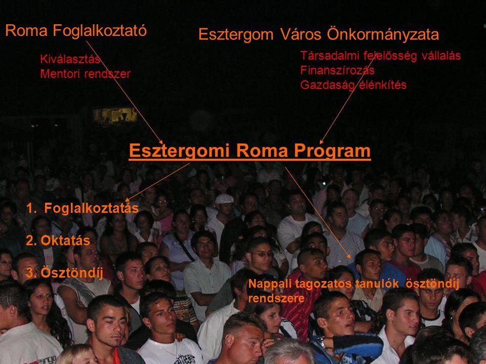 Roma Foglalkoztató Esztergom Város Önkormányzata Esztergomi Roma Program 1.Foglalkoztatás 2. Oktatás 3. Ösztöndíj Nappali tagozatos tanulók ösztöndíj