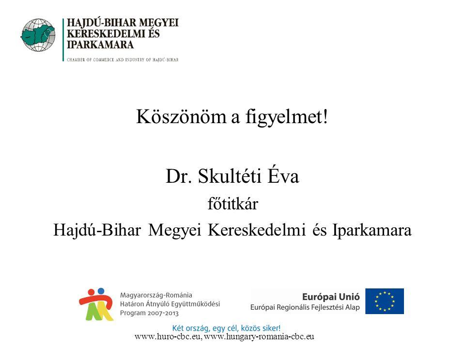 Köszönöm a figyelmet! Dr. Skultéti Éva főtitkár Hajdú-Bihar Megyei Kereskedelmi és Iparkamara www.huro-cbc.eu, www.hungary-romania-cbc.eu