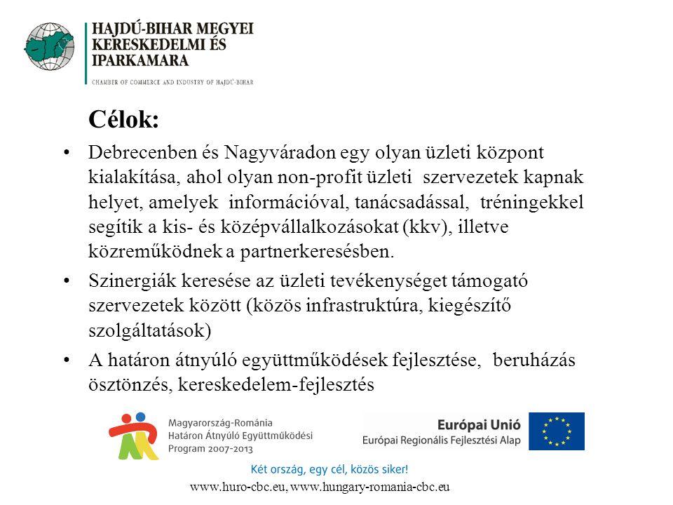 Célok: Debrecenben és Nagyváradon egy olyan üzleti központ kialakítása, ahol olyan non-profit üzleti szervezetek kapnak helyet, amelyek információval,