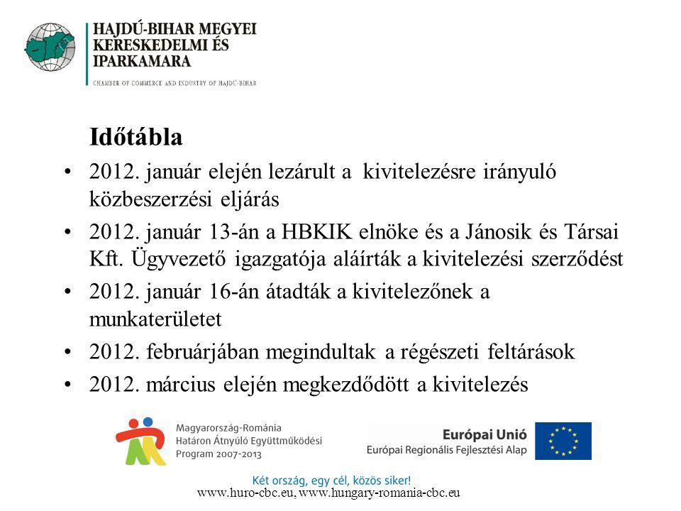 Időtábla 2012. január elején lezárult a kivitelezésre irányuló közbeszerzési eljárás 2012. január 13-án a HBKIK elnöke és a Jánosik és Társai Kft. Ügy