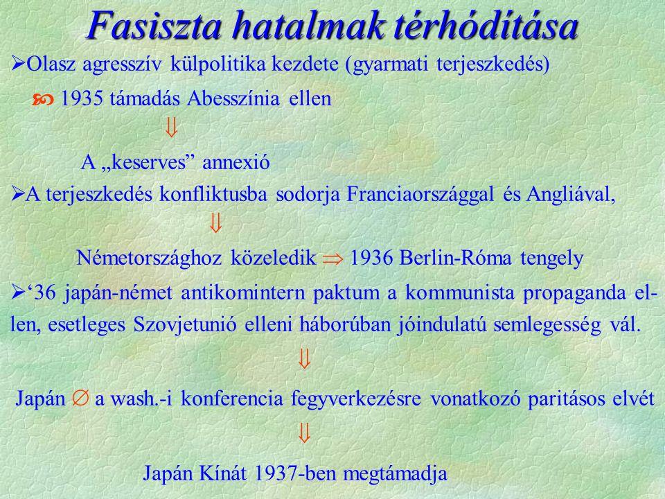 """ Olasz agresszív külpolitika kezdete (gyarmati terjeszkedés)  1935 támadás Abesszínia ellen  A """"keserves"""" annexió  A terjeszkedés konfliktusba sod"""