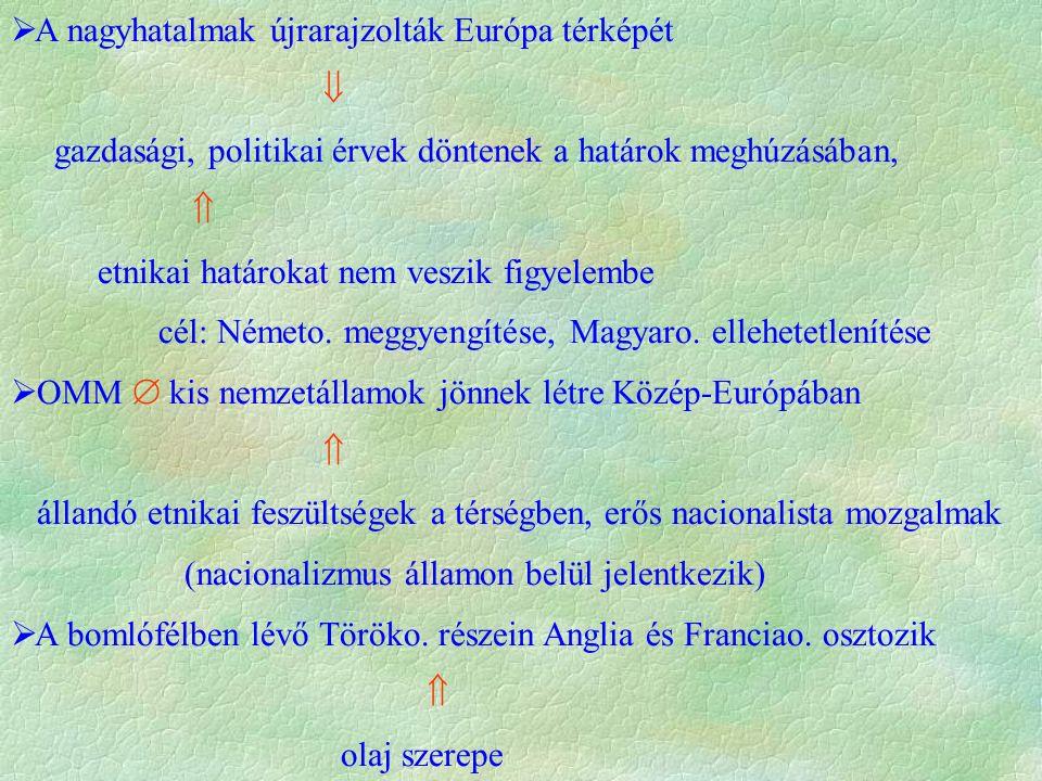  USA: visszatérés  elzárkózás az európai konfliktusoktól  Szovjetunió: mivel  sikerült világforradalmat kirobbantani  fokozatosan gazd.-i és dipl.-i kapcsolatokat épít ki az európai államokkal  1920-21.: kis-antant létrejötte  szerb-horvát-szlovén királyság, Románia, Csehszlovákia,  Franciaország bábáskodása  1920 sevres-i béke  Törökország feldarabolása miatt  nemzeti mozgalom kibontakozása (Kemál Atatürk pasa).