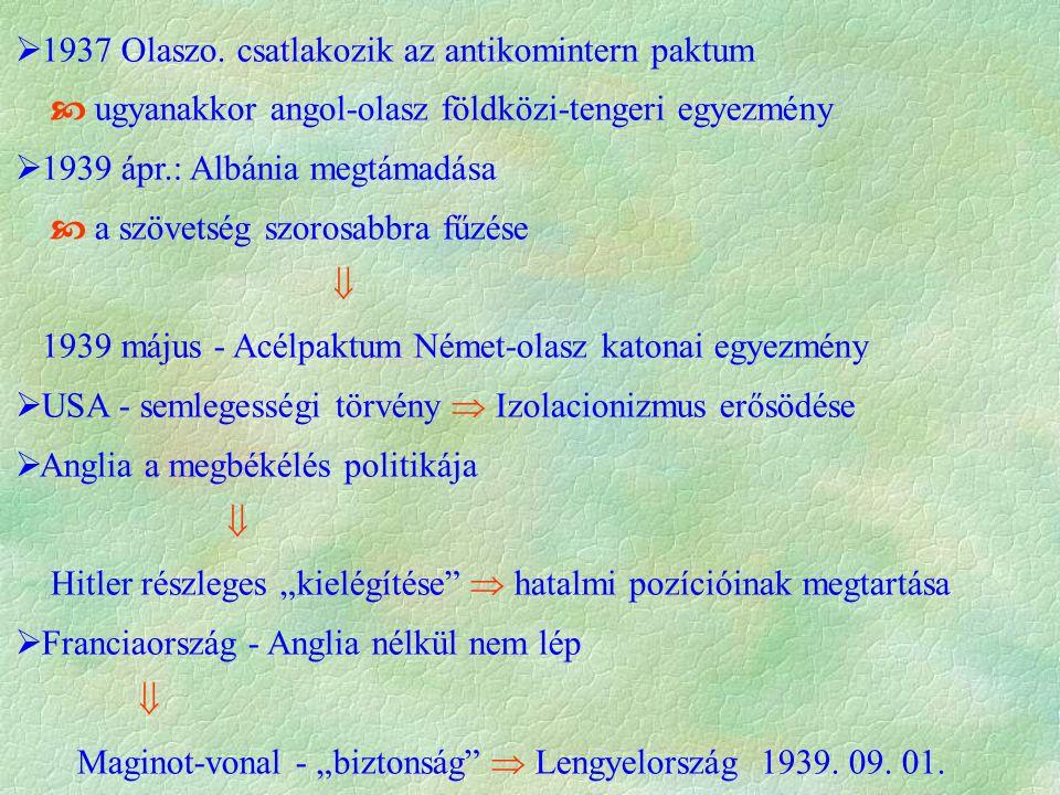  1937 Olaszo. csatlakozik az antikomintern paktum  ugyanakkor angol-olasz földközi-tengeri egyezmény  1939 ápr.: Albánia megtámadása  a szövetség