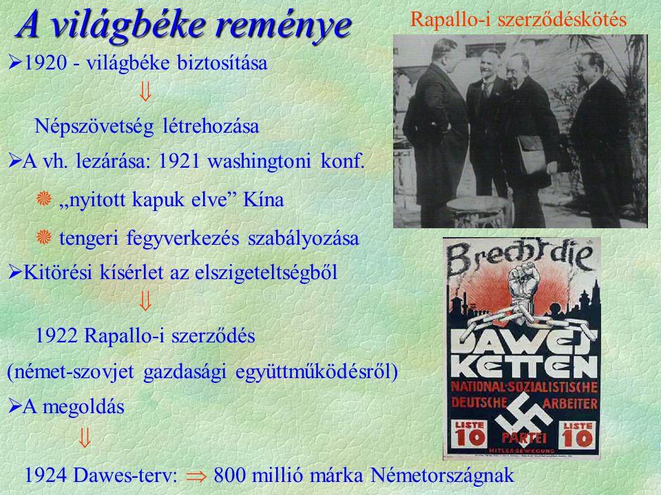  1925.: locarnoi szerződés (Németország nyugati határait szavatolják, keletieket viszont nem)  Briand és Stresemann  Nobel-békedíj  1928.: Kellog-Briand - paktum  háború, mint nemzetközi politikai eszköz elítélése.