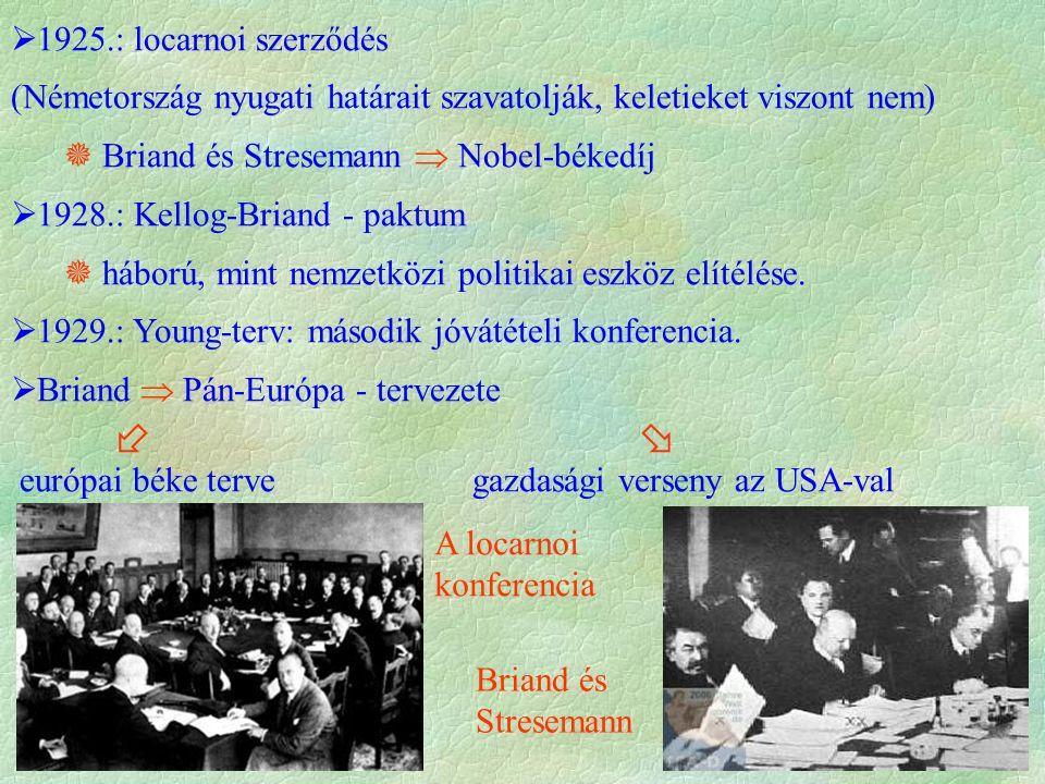  1925.: locarnoi szerződés (Németország nyugati határait szavatolják, keletieket viszont nem)  Briand és Stresemann  Nobel-békedíj  1928.: Kellog-
