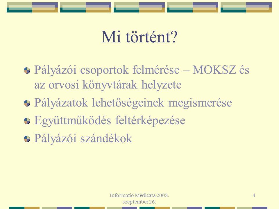 Informatio Medicata 2008. szeptember 26. 4 Mi történt? Pályázói csoportok felmérése – MOKSZ és az orvosi könyvtárak helyzete Pályázatok lehetőségeinek