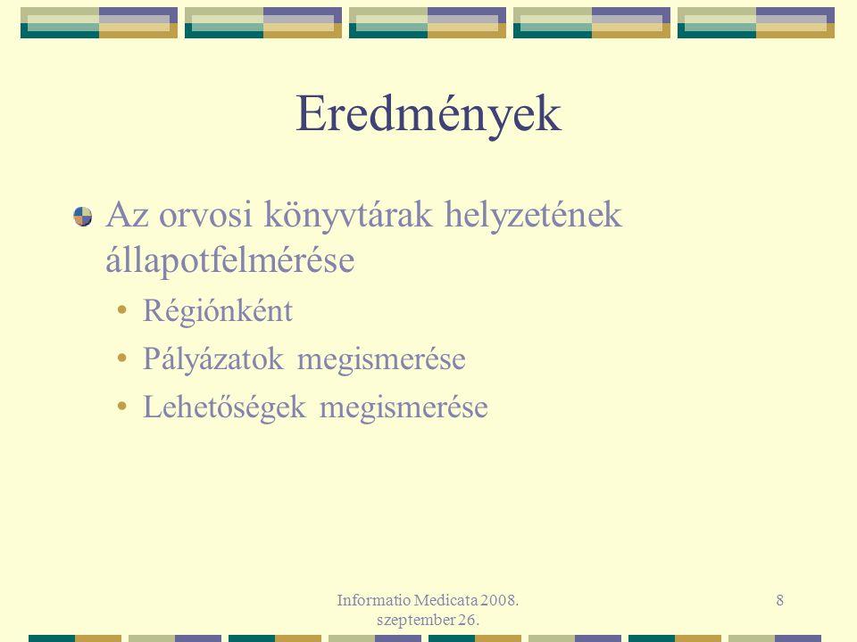 Informatio Medicata 2008. szeptember 26. 8 Eredmények Az orvosi könyvtárak helyzetének állapotfelmérése Régiónként Pályázatok megismerése Lehetőségek