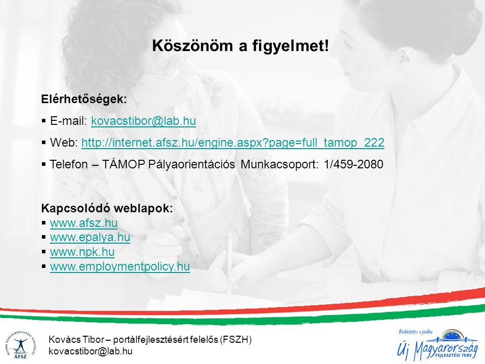 Köszönöm a figyelmet! Elérhetőségek:  E-mail: kovacstibor@lab.hukovacstibor@lab.hu  Web: http://internet.afsz.hu/engine.aspx?page=full_tamop_222http