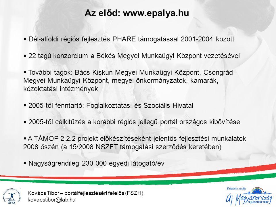 Az előd: www.epalya.hu  Dél-alföldi régiós fejlesztés PHARE támogatással 2001-2004 között  22 tagú konzorcium a Békés Megyei Munkaügyi Központ vezetésével  További tagok: Bács-Kiskun Megyei Munkaügyi Központ, Csongrád Megyei Munkaügyi Központ, megyei önkormányzatok, kamarák, közoktatási intézmények  2005-től fenntartó: Foglalkoztatási és Szociális Hivatal  2005-től célkitűzés a korábbi régiós jellegű portál országos kibővítése  A TÁMOP 2.2.2 projekt előkészítéseként jelentős fejlesztési munkálatok 2008 őszén (a 15/2008 NSZFT támogatási szerződés keretében)  Nagyságrendileg 230 000 egyedi látogató/év Kovács Tibor – portálfejlesztésért felelős (FSZH) kovacstibor@lab.hu