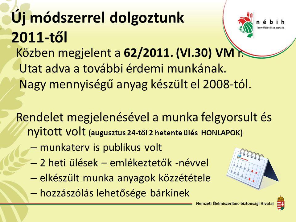 Közben megjelent a 62/2011. (VI.30) VM r. Utat adva a további érdemi munkának. Nagy mennyiségű anyag készült el 2008-tól. Rendelet megjelenésével a mu