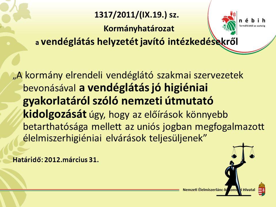 """1317/2011/(IX.19.) sz. Kormányhatározat a vendéglátás helyzetét javító intézkedésekről """" A kormány elrendeli vendéglátó szakmai szervezetek bevonásáva"""