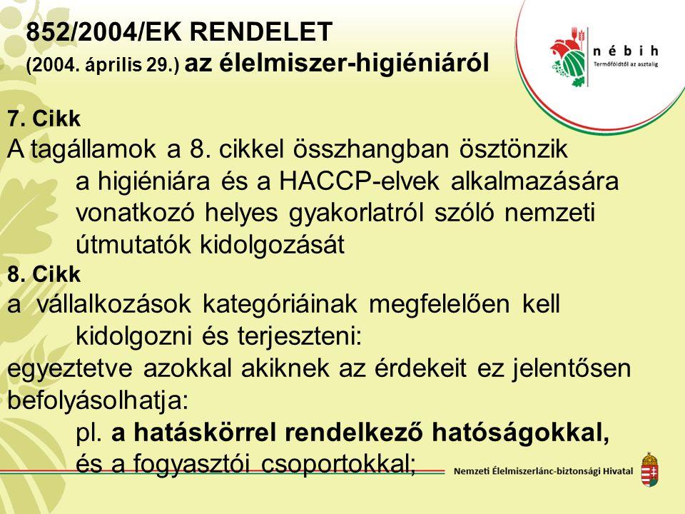 852/2004/EK RENDELET (2004. április 29.) az élelmiszer ‑ higiéniáról 7. Cikk A tagállamok a 8. cikkel összhangban ösztönzik a higiéniára és a HACCP-el