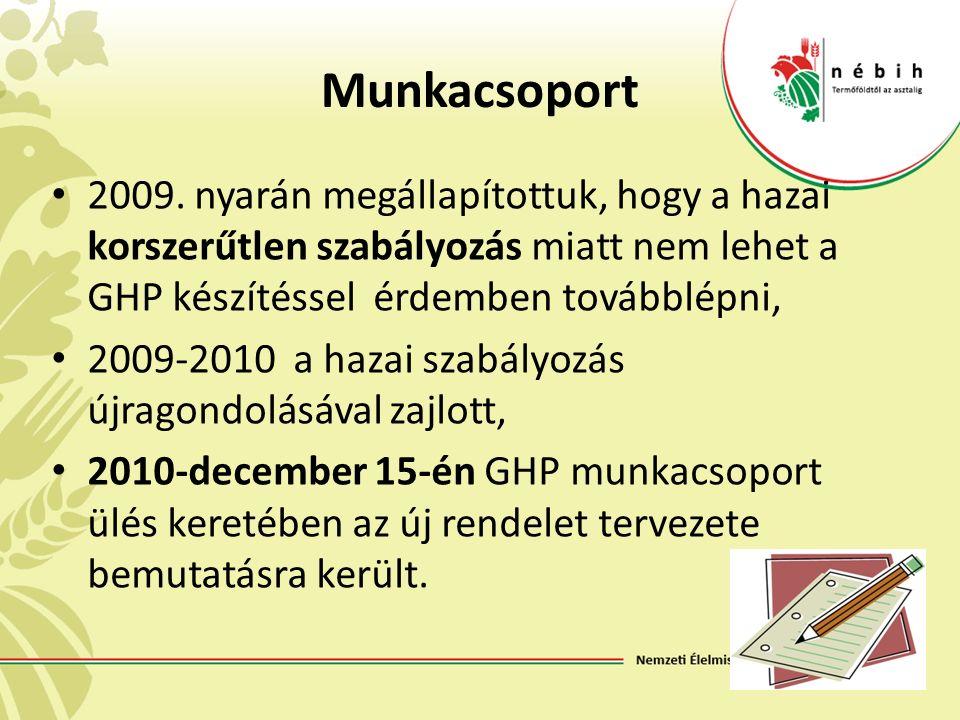 Munkacsoport 2009. nyarán megállapítottuk, hogy a hazai korszerűtlen szabályozás miatt nem lehet a GHP készítéssel érdemben továbblépni, 2009-2010 a h