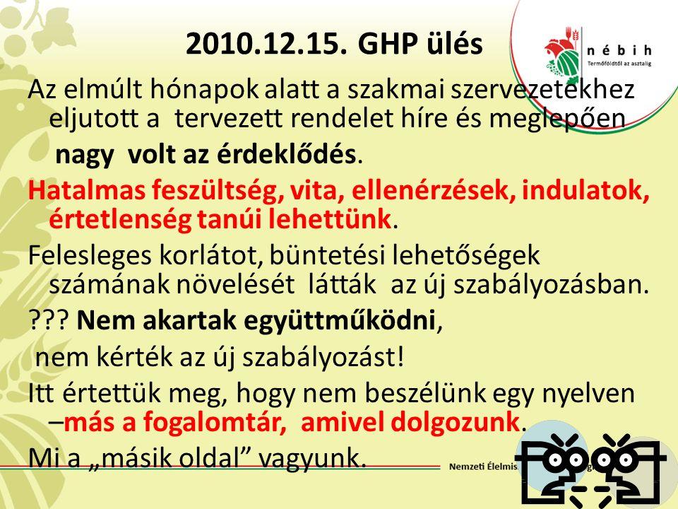 2010.12.15. GHP ülés Az elmúlt hónapok alatt a szakmai szervezetekhez eljutott a tervezett rendelet híre és meglepően nagy volt az érdeklődés. Hatalma