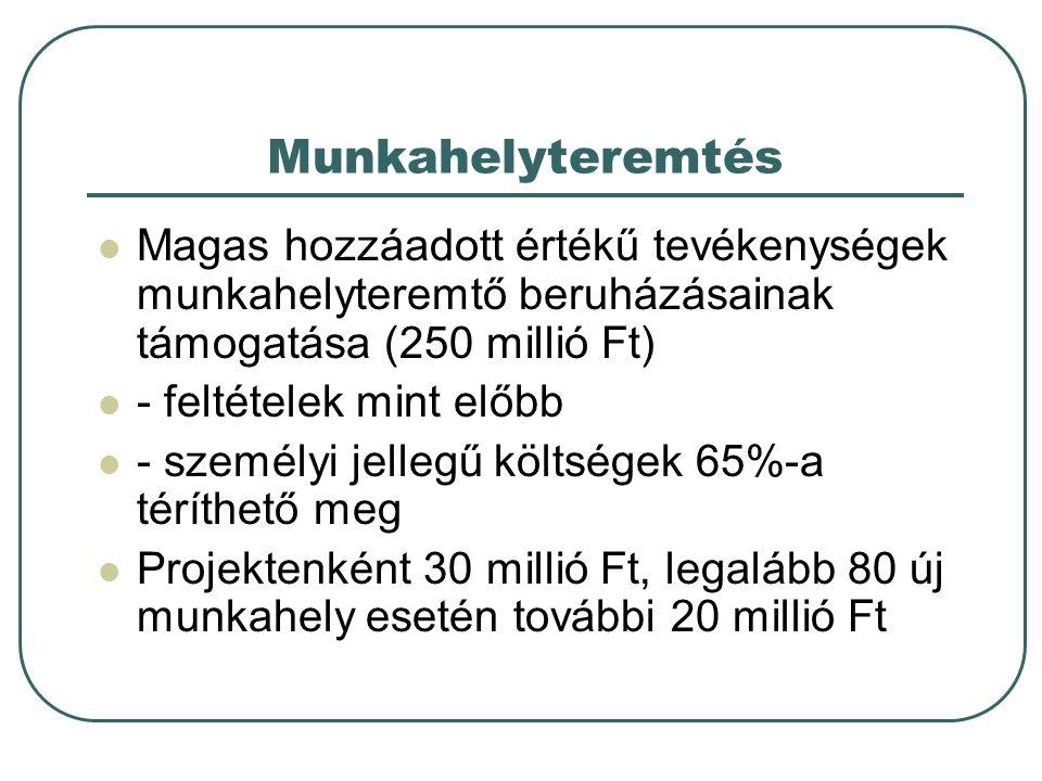Munkahelyteremtés Magas hozzáadott értékű tevékenységek munkahelyteremtő beruházásainak támogatása (250 millió Ft) - feltételek mint előbb - személyi