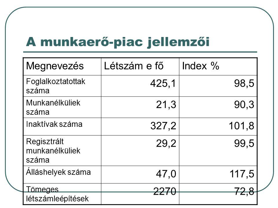 A munkaerő-piac jellemzői MegnevezésLétszám e főIndex % Foglalkoztatottak száma 425,198,5 Munkanélküliek száma 21,390,3 Inaktívak száma 327,2101,8 Reg
