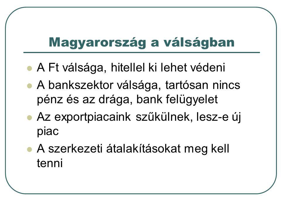 Magyarország a válságban A Ft válsága, hitellel ki lehet védeni A bankszektor válsága, tartósan nincs pénz és az drága, bank felügyelet Az exportpiaca
