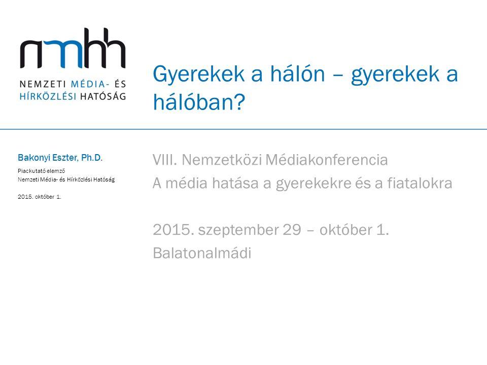 2 Otthon internetező gyerekek a magyar háztartásokban A magyarországi háztartások körében Forrás: NMHH-kutatás, Távközlési szolgáltatások használata a lakossági felhasználók körében, 2014.