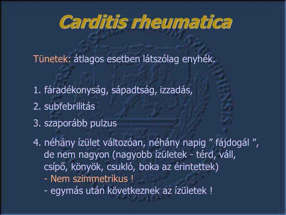 Tünetek: átlagos esetben látszólag enyhék. 1. fáradékonyság, sápadtság, izzadás, 2.