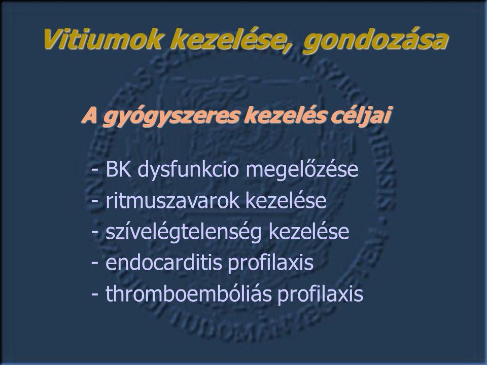 A gyógyszeres kezelés céljai - BK dysfunkcio megelőzése - ritmuszavarok kezelése - szívelégtelenség kezelése - endocarditis profilaxis - thromboembóliás profilaxis Vitiumok kezelése, gondozása