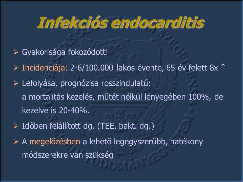 Infekciós endocarditis  Gyakorisága fokozódott.