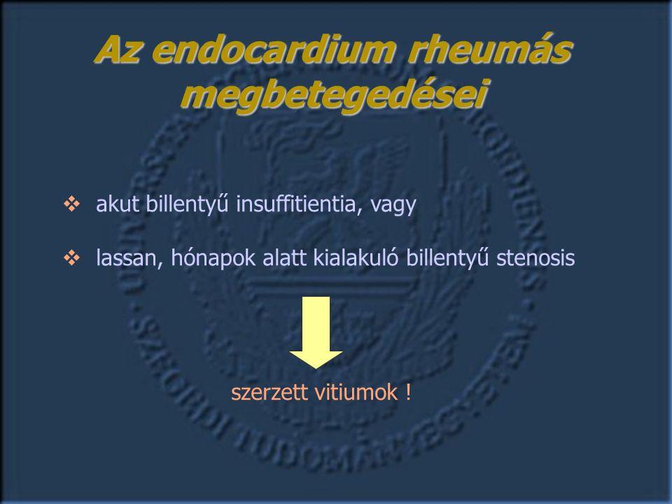 Az endocardium rheumás megbetegedései  akut billentyű insuffitientia, vagy  lassan, hónapok alatt kialakuló billentyű stenosis szerzett vitiumok !
