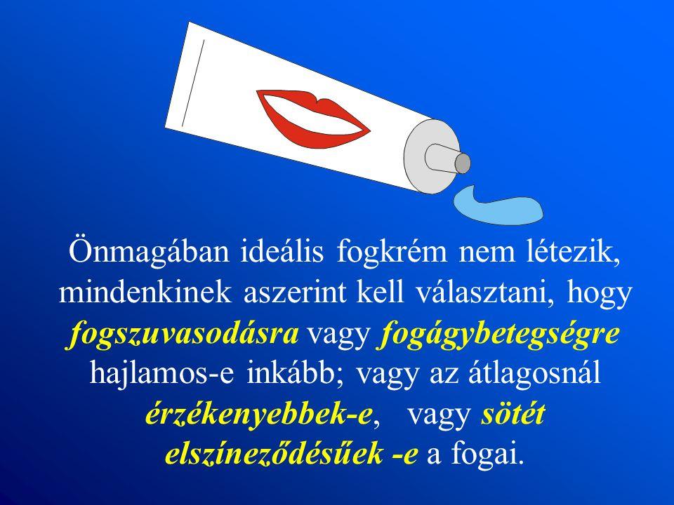 Önmagában ideális fogkrém nem létezik, mindenkinek aszerint kell választani, hogy fogszuvasodásra vagy fogágybetegségre hajlamos-e inkább; vagy az átlagosnál érzékenyebbek-e, vagy sötét elszíneződésűek -e a fogai.