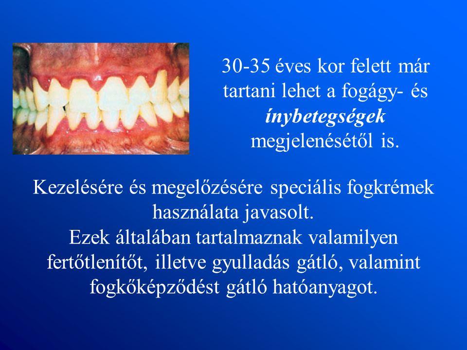 30-35 éves kor felett már tartani lehet a fogágy- és ínybetegségek megjelenésétől is.