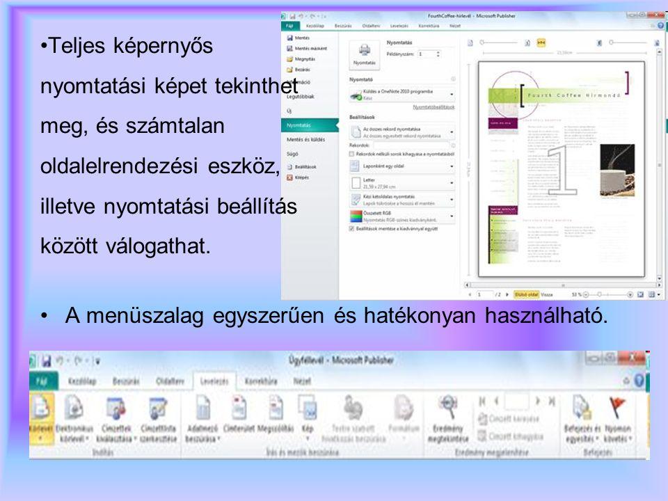 Teljes képernyős nyomtatási képet tekinthet meg, és számtalan oldalelrendezési eszköz, illetve nyomtatási beállítás között válogathat.