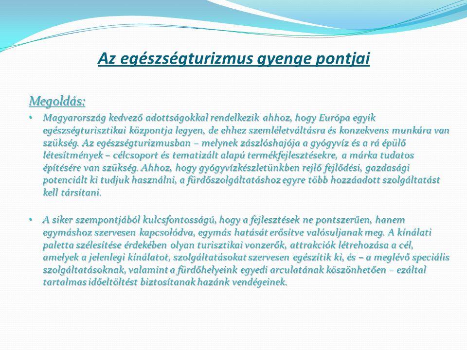 Megoldás: Magyarország kedvező adottságokkal rendelkezik ahhoz, hogy Európa egyik egészségturisztikai központja legyen, de ehhez szemléletváltásra és