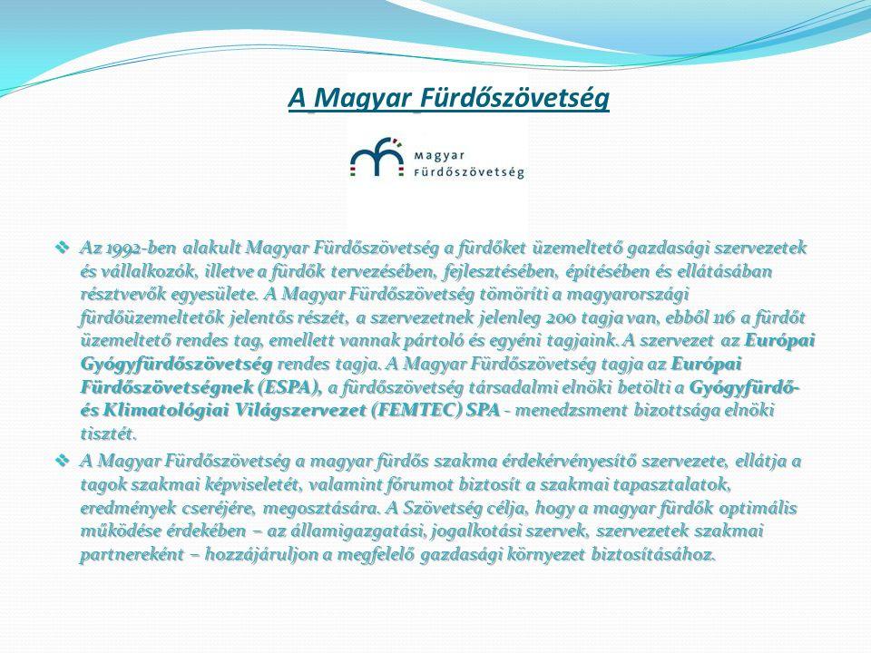 A Magyar Fürdőszövetség  Az 1992-ben alakult Magyar Fürdőszövetség a fürdőket üzemeltető gazdasági szervezetek és vállalkozók, illetve a fürdők terve