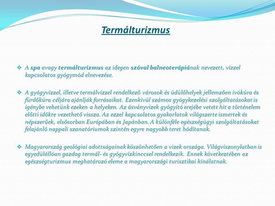 Termálturizmus  A spa avagy termálturizmus az idegen szóval balneoterápiának nevezett, vízzel kapcsolatos gyógymód elnevezése.  A gyógyvízzel, illet