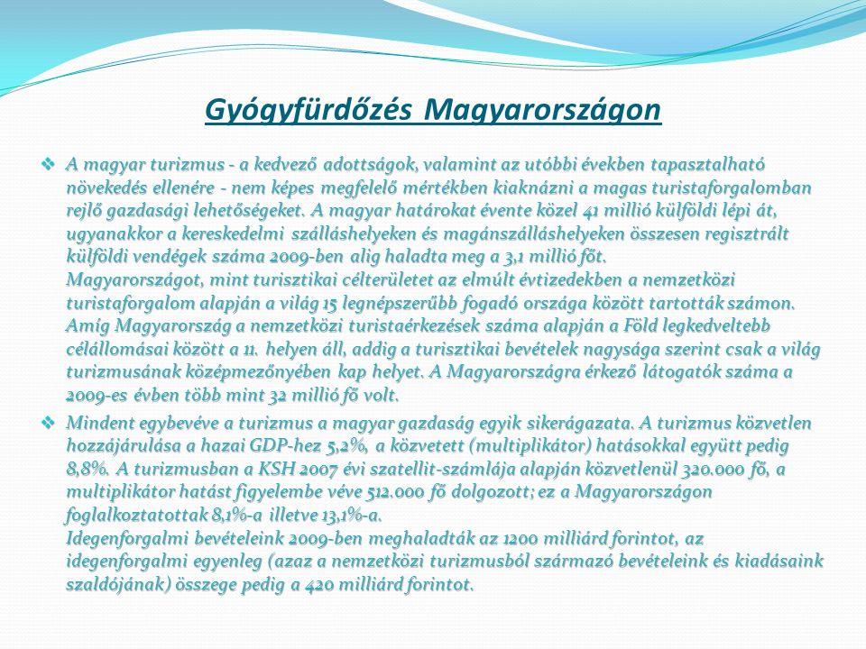 Az Országos Gyógyhelyi és Gyógyfürdőügyi Főigazgatóság nyilvántartása alapján Magyarország gazdag egészségturisztikai kínálattal, jelentős felszín alatti vízkészlettel rendelkezik: 1372 db termál kút, 385 db működő termál és gyógy- és strandfürdő, 70 db minősített gyógyfürdő, 13 db minősített gyógyhely, 207 db elismert gyógyvíz, 224 db elismert ásványvíz, 5 db gyógybarlang, 2 db széndioxid terápiás központ, 5 db helyszíni gyógy-iszap kitermelés, 53 db működő gyógy-szálló, 90 db működő wellness szálló.