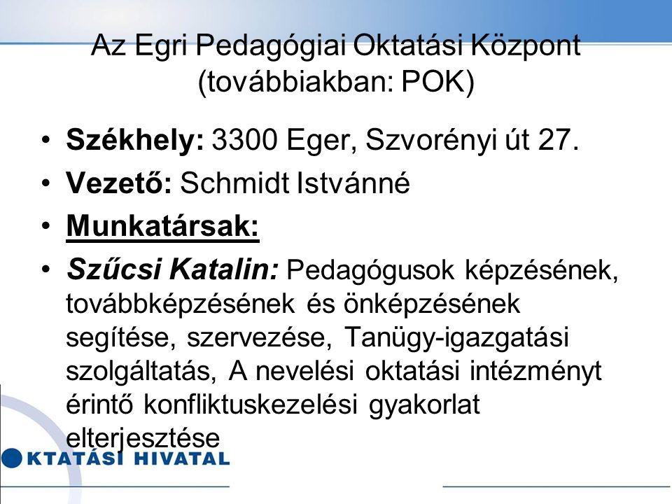 Az Egri Pedagógiai Oktatási Központ (továbbiakban: POK) Székhely: 3300 Eger, Szvorényi út 27.