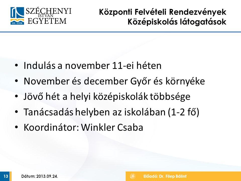 Indulás a november 11-ei héten November és december Győr és környéke Jövő hét a helyi középiskolák többsége Tanácsadás helyben az iskolában (1-2 fő) Koordinátor: Winkler Csaba Dátum: 2013.09.24.13 Központi Felvételi Rendezvények Középiskolás látogatások Előadó: Dr.