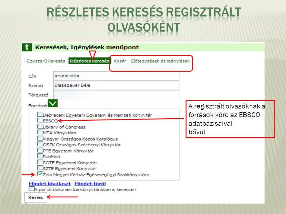 A regisztrált olvasóknak a források köre az EBSCO adatbázisaival bővül.
