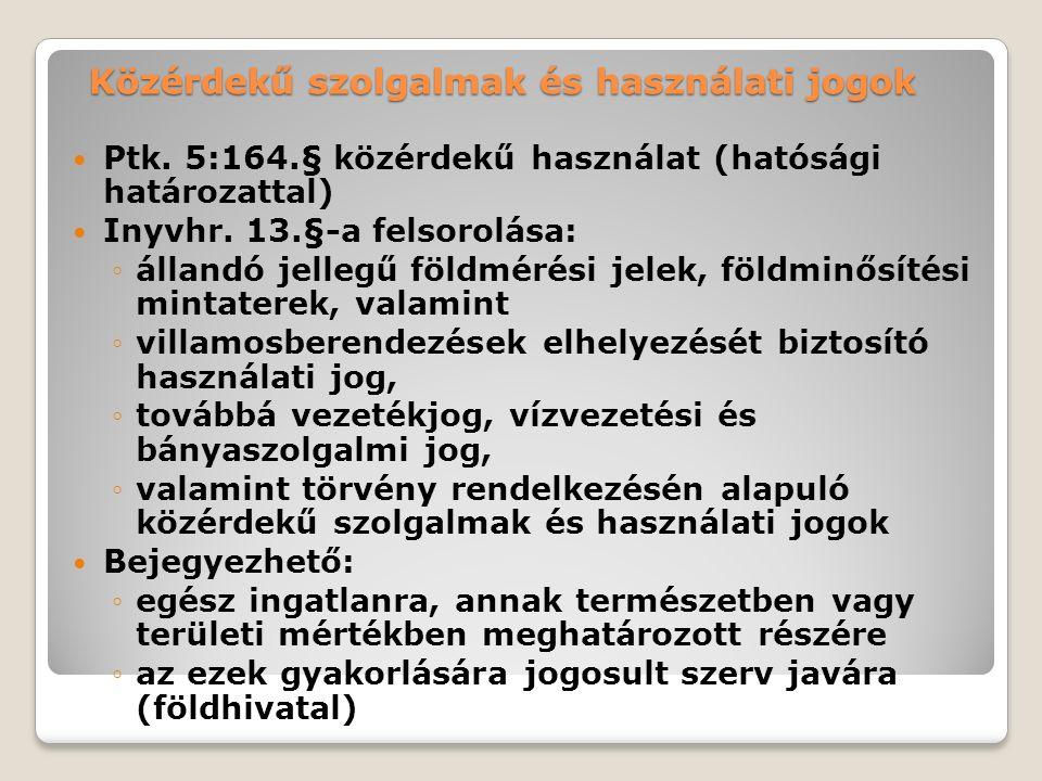 Közérdekű szolgalmak és használati jogok Ptk.