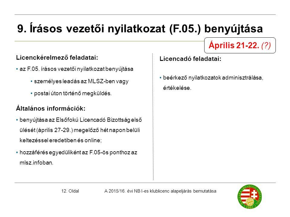 A 2015/16. évi NB I-es klublicenc alapeljárás bemutatása12. Oldal 9. Írásos vezetői nyilatkozat (F.05.) benyújtása Licenckérelmező feladatai: az F.05.