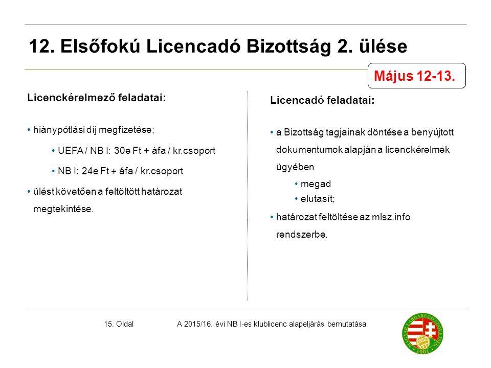 A 2015/16. évi NB I-es klublicenc alapeljárás bemutatása15. Oldal Licenckérelmező feladatai: hiánypótlási díj megfizetése; UEFA / NB I: 30e Ft + áfa /