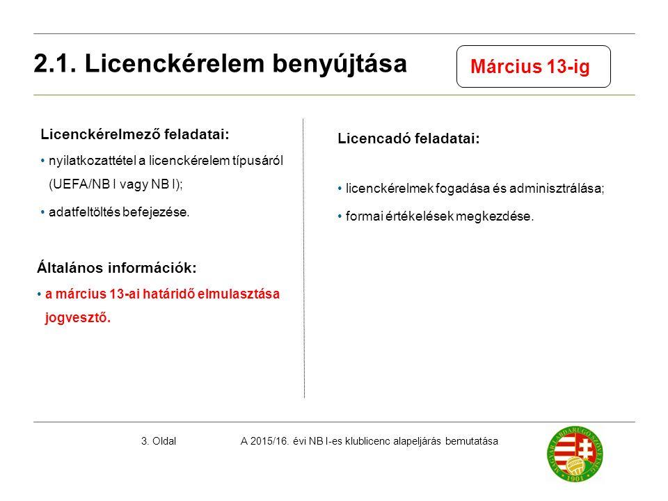 A 2015/16. évi NB I-es klublicenc alapeljárás bemutatása3. Oldal Licenckérelmező feladatai: nyilatkozattétel a licenckérelem típusáról (UEFA/NB I vagy